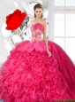 2016 Spring Exquisite Ball Gown Beaded Quinceanera Dresses in Hot Pink