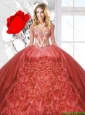 2016 Summer Beautiful Ruffles Rust Red Quinceanera Dresses with Straps