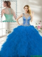 Fall Perfect Scoop Ruffles Blue Quinceanera Gown with Beading