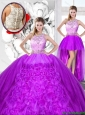 Perfect Beaded and Ruffles Detachable Quinceanera  Dresses with Scoop