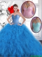 Cheap Beading Sweetheart Quinceanera Dresses in Blue