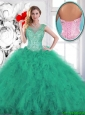 Fashionable Beading and Appliques Quinceanera Gowns in Turquoise