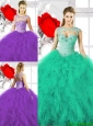 Pretty Beading Sweetheart Quinceanera Dresses with Ruffles