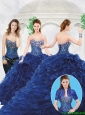 Luxurious Royal Blue Sweetheart Quinceanera Gowns with Brush Train