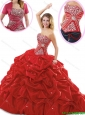 2016 Pretty Ball Gown Red Sweet 16 Dresses with Pick Ups