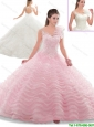 Beautiful Appliques Open Back Quinceanera Dresses with Ruffled Layers