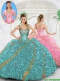 Cheap Beading and Ruffles Sweet 16 Dresses with Straps