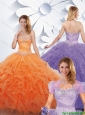Cute Strapless Quinceanera Gowns with Beading and Ruffles for 2016 Spring