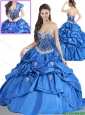 Luxurious Blue Quinceanera Dresses with Beading and Pick Ups