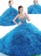 Luxurious Brush Train Blue Sweet 16 Dresses with Beading