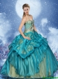 Perfect Beading Teal Quinceanera Dresses with Pick Ups