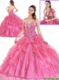 Simple Beading and Ruffles Quinceanera Gowns in Hot Pink 223.46