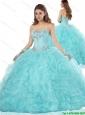 Exclusive Ruffles and Beading Quinceanera Dresses in Aqua Blue