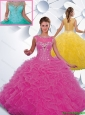 Gorgeous Beading Hot Pink Quinceanera Dresses with Bateau