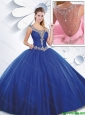 New Style Scoop Beading Quinceanera Dresses with Side Zipper
