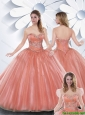 Popular Ball Gown Watermelon Quinceanera Gowns with Beading