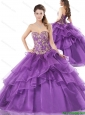 Fashionable Ball Gown Purple Quinceanera Gowns with Beading