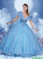Classical Appliques Blue Sweet 16 Dresses with Cap Sleeves