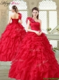 2016 Spring Beautiful One Shoulder Ruffles Quinceanera Gowns in Red