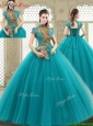 2016 Spring Luxurious High Neck Appliques Quinceanera Dresses with Short Sleeves