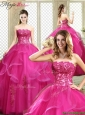 Classical Strapless Fuchsia Quinceanera Dresses with Appliques