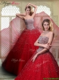 Luxurious Strapless Beading Quinceanera Dresses in Wine Red