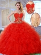 Beautiful Red Quinceanera Dresses with Appliques and Ruffles