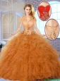 Fall Fashionable Appliques Sweet 16 Dresses in Champagne