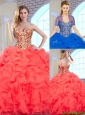 2015 Fall Fashionable Coral Red Quinceanera Gowns with Beading and Ruffles