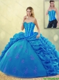 2015 Fsll Popular Ball Gown Beading Detachable Quinceanera Dresses with Pick Ups