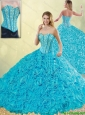 2016 Spring Exquisite Aqua Blue Detachable Quinceanera Dresses with Beading