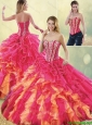 2016 Spring Gorgeous Multi Color Detachable Quinceanera Dresses with Beading and Ruffles