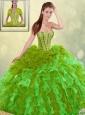 2016 Spring Perfect Brush Train Detachable Quinceanera Dresses in Multi Color