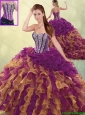 Fashionable Brush Train Beading Detachable Quinceanera Dresses in Multi Color