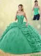 Hot Sale Turquoise Quinceanera Dresses with Brush Train for 2016