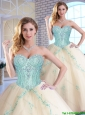 Modern Appliques and Sequins Quinceanera Gowns in Champagne