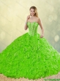 Popular Brush Train Quinceanera Dresses with Rolling Flowers