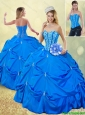 Popular Fall Blue Detachable Quinceanera Gowns with Pick Ups