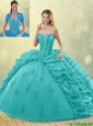 Winter Fashionable Brush Train Pick Ups and Beading Quinceanera Gowns