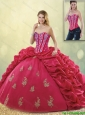 2016 Latest Brush Train Beading Sweet 16 Dresses in Coral Red