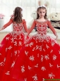 2016 Elegant Scoop Red Little Girl Pageant Dresses  with Beading