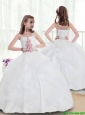 2016 New Arrivals Bateau Beading Flower Girl Dresses in White