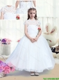 Simple High Neck Appliques Flower Girl Dresses with Tea Length for 2016
