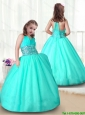 2015 Fall New Style Apple Green Little Girl Pageant Gowns with Beading