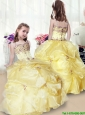 2015 Fall Wonderful Beading and Appliques Yellow Little Girl Pageant Gowns