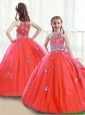 2016 Popular Zipper Up Little Girl Pageant Dresses with High Neck