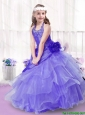 Popular Beading and Ruffles Little Girl Pageant Dresses in Lavender for 2016