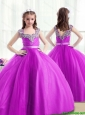 Popular Beading Little Girl Pageant Dresses in Fuchsia for 2016