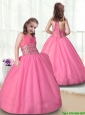 Popular Rose Pink Halter Top Little Girl Pageant Dresses for 2016