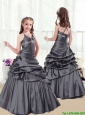 2015 Fall Elegant Beading and Pick Ups Little Girl Pageant Dresses in Grey